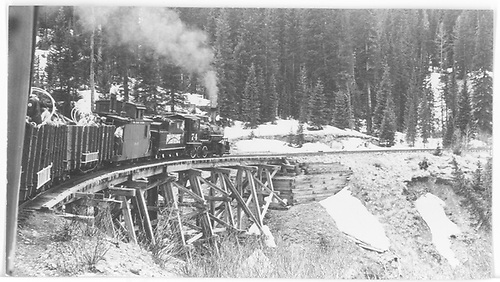 RGS #74 with Rocky Club excursion train at trestle 51-A just east of Trout Lake.<br /> RGS  Trout Lake, CO  Taken by Maxwell, John W. - 5/29/1949