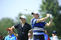 Brooks Koepka (USA) Rory McIlroy (NIR) during the first round of  The Northern Trust, Liberty National Golf Club, Jersey City, New Jersey, USA. 08/08/2019.<br /> Picture Michael Cohen / Golffile.ie<br /> <br /> All photo usage must carry mandatory copyright credit (© Golffile | Michael Cohen)