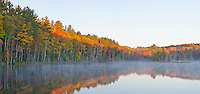 Sunrise lights up the edge of the forest at Council Lake, Hiawatha National Forest, Alger County, Michigan
