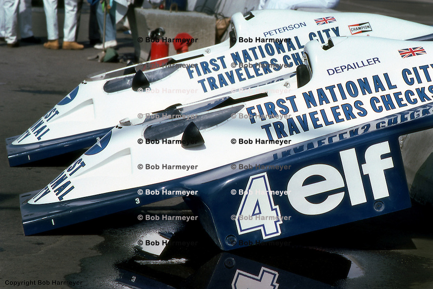 LONG BEACH, CA: Spare bodywork for the Tyrrell P34 six-wheel Formula 1 cars, driven by Ronnie Peterson and Patrick Depailler,  in the pit lane before practice for the United States Grand Prix West on April 3, 1977, on the temporary street circuit in Long Beach, California.