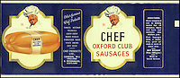 BNPS.co.uk (01202 558833)<br /> Picture: Nestle/BNPS<br /> <br /> ****Please use full byline****<br /> <br /> Chef Sausages.<br /> <br /> A selection of vintage chocolate and sweets wrappers have been unearthed to help trigger happy memories in dementia sufferers.<br /> <br /> Some of the earliest examples of the Rowntrees packaging dates from the 1920s and includes the first wrappers for famous treats such as Aero, Dairy Box, and Fruit Gums.<br /> <br /> As the brands were updated over the years the paper casing was gradually changed but examples of the early versions were stored in an archive.<br /> <br /> Historians at Rowntrees have now placed images of the packets on an online document so that they can be seen by dementia sufferers as a way to reminisce.