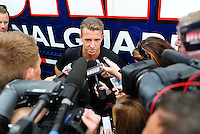 Oct. 30, 2009; Talladega, AL, USA; NASCAR Sprint Cup Series driver A.J. Allmendinger addresses the media in regarding his arrest for drunk driving earlier in the week, following practice for the Amp Energy 500 at the Talladega Superspeedway. Mandatory Credit: Mark J. Rebilas-
