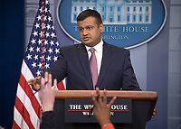 White House Principal Deputy Press Secretary Raj Shah conducts his first official White House briefing to the media in the Brady Press Briefing Room of the White House in Washington, DC on Thursday, February 8, 2018. Photo Credit: Ron Sachs/CNP/AdMedia