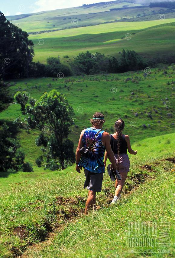 Hikers on Kohala Mountain, near Waimea. Big Island of Hawaii