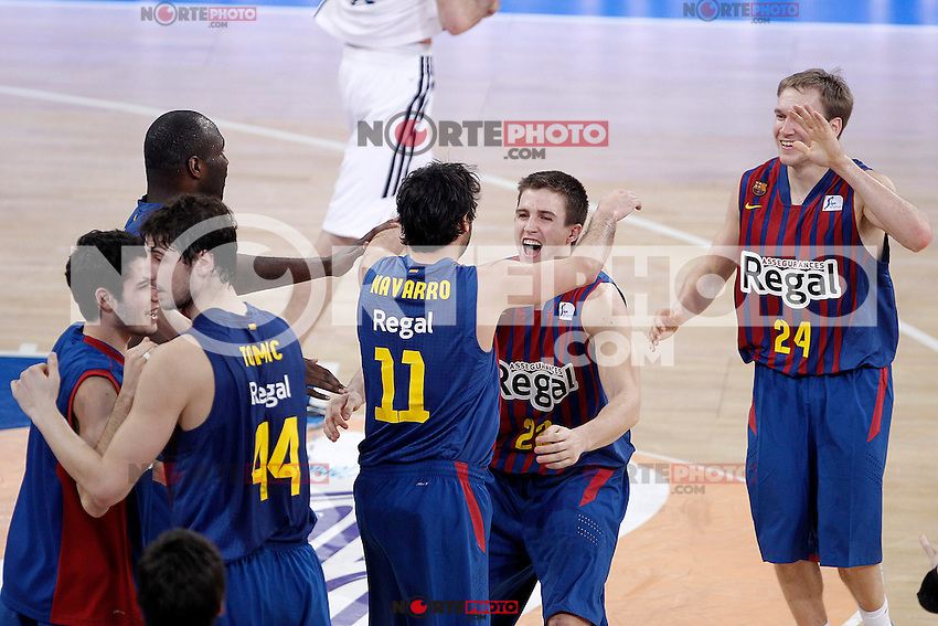 FC Barcelona Regal's Alex Abrines, Ante Tomic, Nathan Jawai, Juan Carlos Navarro, Xabi Rabaseda and Brad Oleson celebrate the victory after during Spanish Basketball King's Cup match.February 07,2013. (ALTERPHOTOS/Acero) /Nortephoto