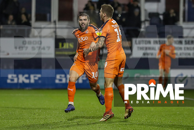 Elliot Lee of Luton Town (left) celebrates after he scores his team's second goal during the Sky Bet League 1 match between Luton Town and Bradford City at Kenilworth Road, Luton, England on 27 November 2018. Photo by David Horn.