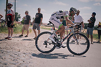 Maxime Bouet (FRA/Fortuneo-Samsic) at the end of pav&eacute; sector #9<br /> <br /> Stage 9: Arras Citadelle &gt; Roubaix (154km)<br /> <br /> 105th Tour de France 2018<br /> &copy;kramon