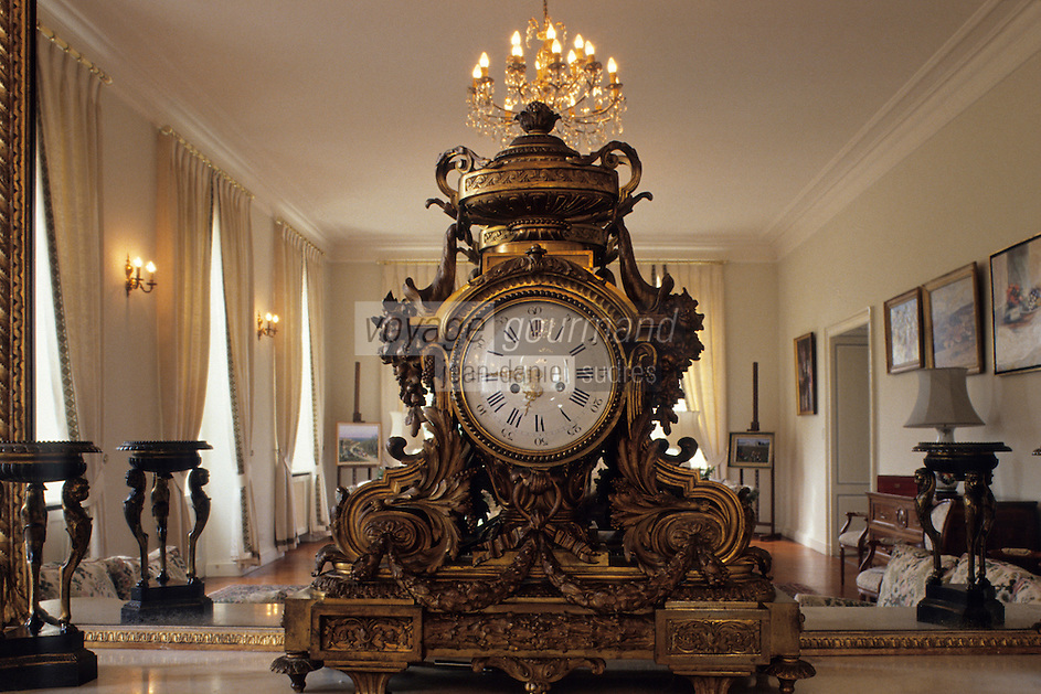 Europe/France/Aquitaine/33/Gironde : château Lascombes (AOC Margaux) - Détail d'une pendule dans le salon [Non destiné à un usage publicitaire - Not intended for an advertising use]