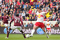 Kenny Cooper (33) of the New York Red Bulls plays the ball. The New York Red Bulls defeated the Colorado Rapids 4-1 during a Major League Soccer (MLS) match at Red Bull Arena in Harrison, NJ, on March 25, 2012.