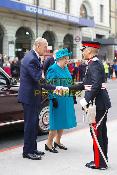 Prince Philip The Duke of Edinburgh and HM The Queen arrive to open a new centre to protect the UK against cyber-attacks. The National Cyber Security Centre (NCSC) in London is designed to improve Britain's resilience to attacks and act as an operational nerve centre.<br /> London, England 14th February 2017.<br /> CAP/SDL<br /> &copy;Stephen Loftus/Capital Pictures