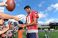 Wednesday, August 17, 2016: New England Patriots quarterback Jimmy Garoppolo (10) signs autographs for fans at a joint training camp session between the Chicago Bears and the New England Patriots held at Gillette Stadium in Foxborough Massachusetts. Eric Canha/CSM