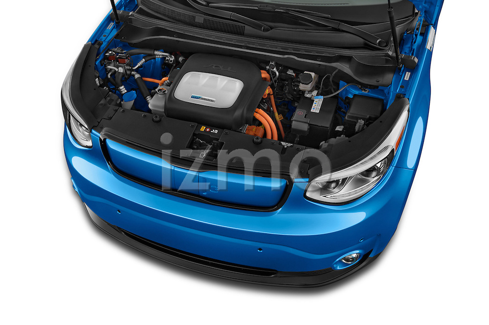 Car Stock2015 KIA Soul EV Base 5 Door Wagon Engine high angle detail view