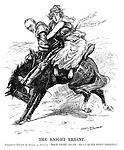 "The Knight Errant. President Wilson (to League of Nations). ""Hold tight, ma'am; he'll quiet down diectly."" (Wilson with the League of Nations holding on, ride a US Senate horse that refuses to carry her after WW1)"