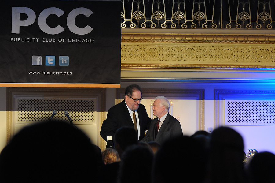 President Jimmy Carter met fellow citizens and delivered the keynote speech at the Publicity Club of Chicago's Golden Trumpet Awards. PCC recognized the region's best strategic communications work done in 2013 at the Golden Trumpet Awards dinner at the Palmer House in downtown Chicago on Wednesday, June 4, 2014  [Photo by George Pfoertner/The Kring Group]