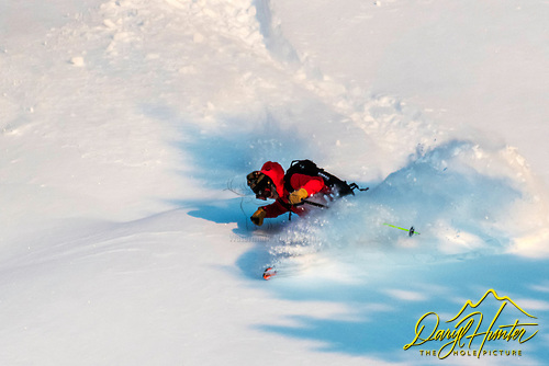 steep and deep, skier getting some powder in Jacskon Hole.