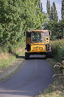 New Holland CR9090 combine moving fields on the public highway - Lincolnhsire, August