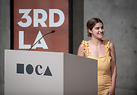 "Andrea Snyder '19 introduces Los Angeles Mayor Eric Garcetti<br /> Occidental College's 3rd LA (Re)Designing LA series continues in the Ahmanson Auditorium at The Museum of Contemporary Art (MOCA) on March 27, 2019. Hosted by Oxy Professor of Practice and Chief Design Officer for the City of Los Angeles Christopher Hawthorne, guest speakers and panelists discussed ""Strange Beauty: Making Sense of L.A. Architecture from the 1980s and 1990s.""<br /> 3rd LA is co-sponsored by Occidental, the Mayor's Office and the Los Angeles Department of Cultural Affairs.<br /> (Photo by Marc Campos, Occidental College Photographer)"