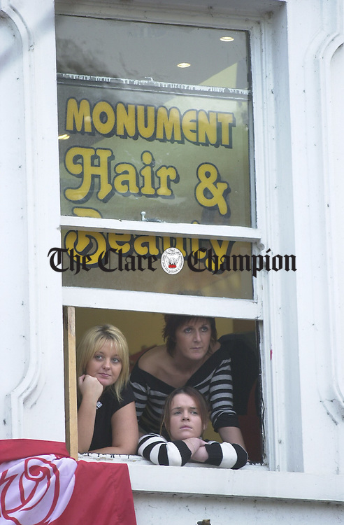 The girls from Monument Hair and Beauty had a good view of the Ennis Hospital protest rally. Photograph by John Kelly