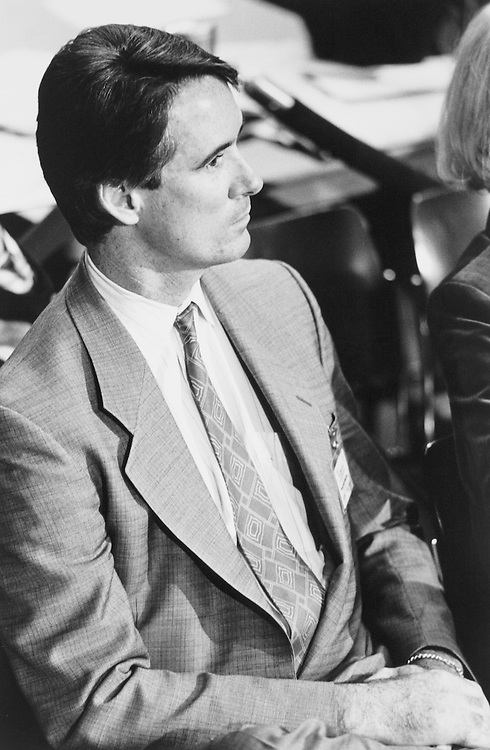 Sen. Alan Cranston, D-Calif. son Kim, listening to his father's testimony, sitting with his wife Colette, his father-in-law, and his Aunt Eleanor Cameron (Senator Cranston's Sister). November 26, 1990. (Photo by Laura Patterson/CQ Roll Call)