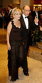 NBC News Correspondent Andrea Mitchell and her husband, Federal Reserve Chairman Alan Greenspan, arrive at the White House Correspondents Dinner, at the Washington Hilton Hotel, Washington, DC, April 26, 2003.<br /> Credit: Ron Sachs/CNP
