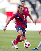 USA defender   Steve Cherundolo (6) dribbles. In a friendly match, Spain defeated USA, 4-0, at Gillette Stadium on June 4, 2011.