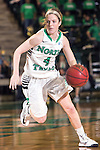 North Texas Mean Green guard Laura McCoy (4) in action during the game between the Arkansas Little Rock Trojans and the North Texas Mean Green at the Super Pit arena in Denton, Texas. UALR defeats UNT 52 to 48...