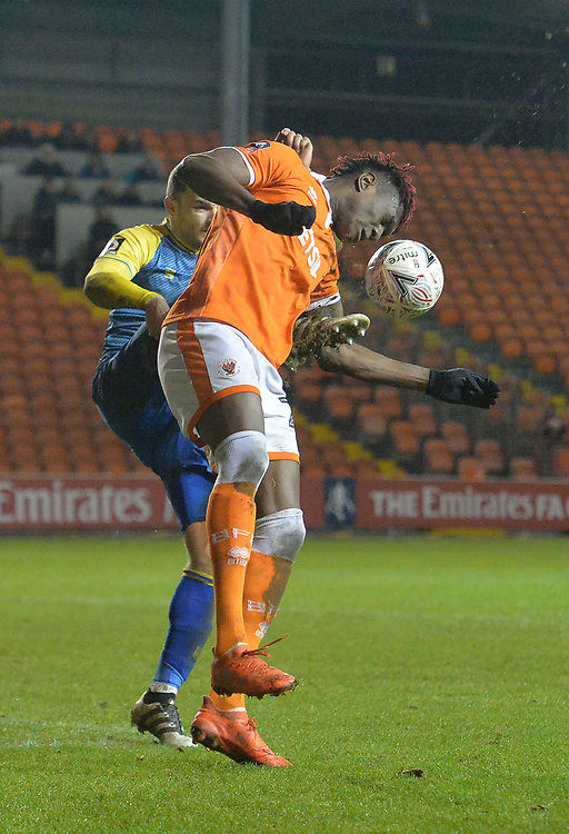 Blackpool's Armand Gnanduillet is fouled which results in a penalty<br /> <br /> Photographer Dave Howarth/CameraSport<br /> <br /> The Emirates FA Cup Second Round Replay - Blackpool v Solihull Moors - Tuesday 18th December 2018 - Bloomfield Road - Blackpool<br />  <br /> World Copyright © 2018 CameraSport. All rights reserved. 43 Linden Ave. Countesthorpe. Leicester. England. LE8 5PG - Tel: +44 (0) 116 277 4147 - admin@camerasport.com - www.camerasport.com
