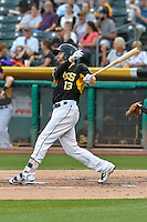 Brendan Ryan (13) of the Salt Lake Bees follows through on his swing against the Albuquerque Isotopes during the Pacific Coast League game at Smith's Ballpark on August 30, 2016 in Salt Lake City, Utah. The Bees defeated the Isotopes 3-2. (Stephen Smith/Four Seam Images)