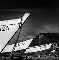 Europe/France/Normandie/Haute-Normandie/76/Seine-Maritime/Yport: Les caques, canots des pêcheurs et les falaises,