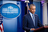 United States President Barack Obama pauses while speaking to reporters in the Brady Press Briefing Room in Washington, District of Columbia, U.S., on Sunday, June 12, 2016, about the deadly shooting the night before in a gay nightclub in Orlando FL. Approximately 50 people were killed and at least 53 more were injured in what appears to be the deadliest mass shooting in U.S. history. <br /> Credit: Pete Marovich / Pool via CNP