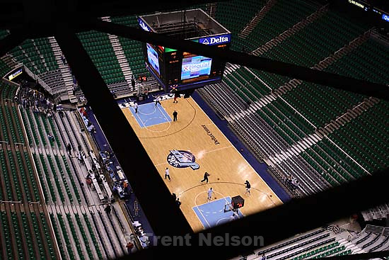 Delta Center from catwalk. Utah Jazz vs. Houston Rockets.<br />