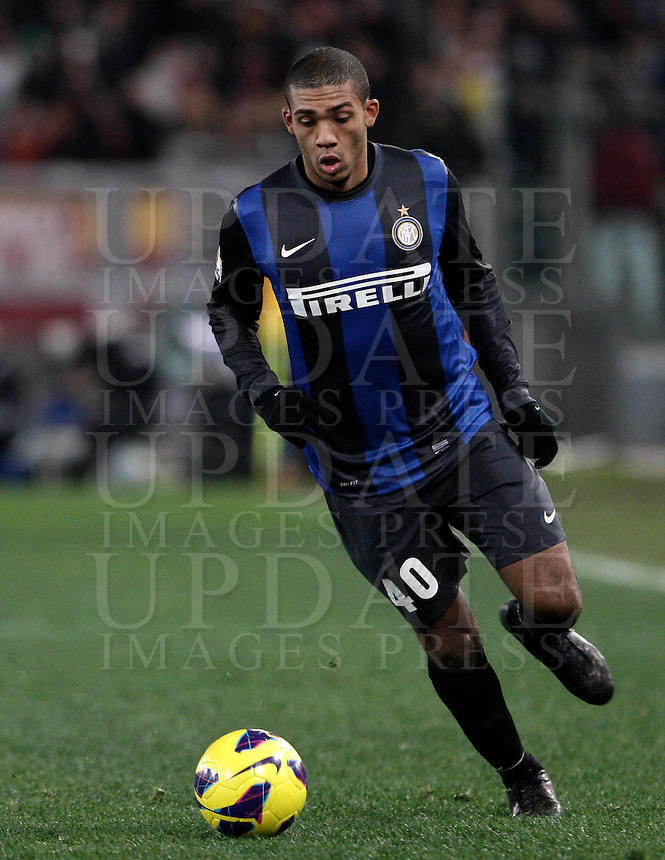 Calcio, semifinale di andata di Coppa Italia: Roma vs Inter. Roma, stadio Olimpico, 23 gennaio 2013..FC Inter defender Juan Jesus, of Brazil, in action during the Italy Cup football semifinal first half match between AS Roma and FC Inter at Rome's Olympic stadium, 23 January 2013..UPDATE IMAGES PRESS/Riccardo De Luca