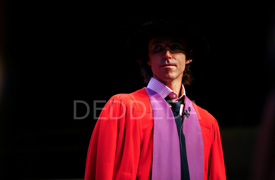 Six time NBA All-Star and two time NBA Most Valuable Player recipient, Steve Nash, accepts an Honourary Doctor of Laws degree at a special convocation ceremony at the University of Victoria in the University Centre Farquhar Auditorium in Victoria, BC, British Columbia, Canada. Photo assignment for the Canadian Press (CP) and Associated Press (AP) news wire services.