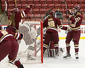 Kristyn Capizzano (BC - 7), Toni Ann Miano (BC - 18) and Meghan Grieves (BC - 17) celebrate Grieves' first goal in the game. - The visiting Boston College Eagles defeated the Harvard University Crimson 2-0 on Tuesday, January 19, 2016, at Bright-Landry Hockey Center in Boston, Massachusetts.