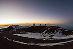 Mauna Kea Observatories At Sunset