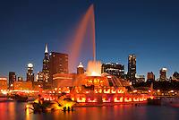 Buckingham Fountain has a nightly light and music show during the summer in Grant Park on Chicago's lakefront