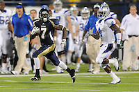 11 October 2008:  FIU defensive back Anthony Gaitor (7) returns an interception 71 yards as Middle Tennessee State wide receiver Malcolm Beyah (4) attempts to run him down in the second quarter of the FIU 31-21 victory over Middle Tennessee at FIU Stadium in Miami, Florida.