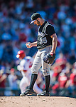 28 August 2016: Colorado Rockies starting pitcher Chad Bettis looks down at the rubber after giving up a solo home run to Washington Nationals catcher Wilson Ramos in the 7th inning at Nationals Park in Washington, DC. The Rockies defeated the Nationals 5-3 to take the rubber match of their 3-game series. Mandatory Credit: Ed Wolfstein Photo *** RAW (NEF) Image File Available ***