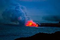 Evening view of the Kamokuna Lava Flow ocean entry point, Hawai'i Volcanoes National Park, Hawai'i Island.