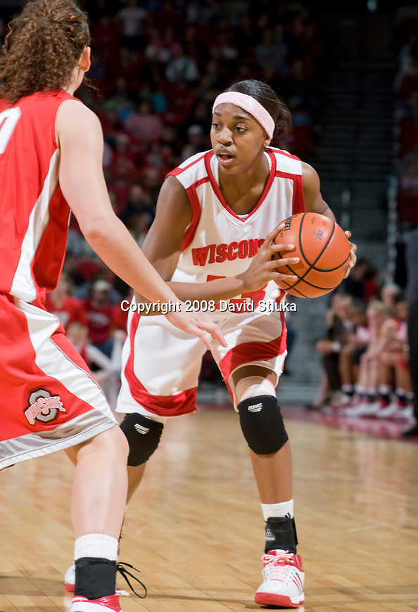 MADISON, WI - FEBRUARY 10: Guard Teah Gant #13 of the Wisconsin Badgers women's basketball team handles the ball against the Ohio State Buckeyes at the Kohl Center on February 10, 2008 in Madison, Wisconsin. Ohio State beat Wisconsin 80-77. (Photo by David Stluka)