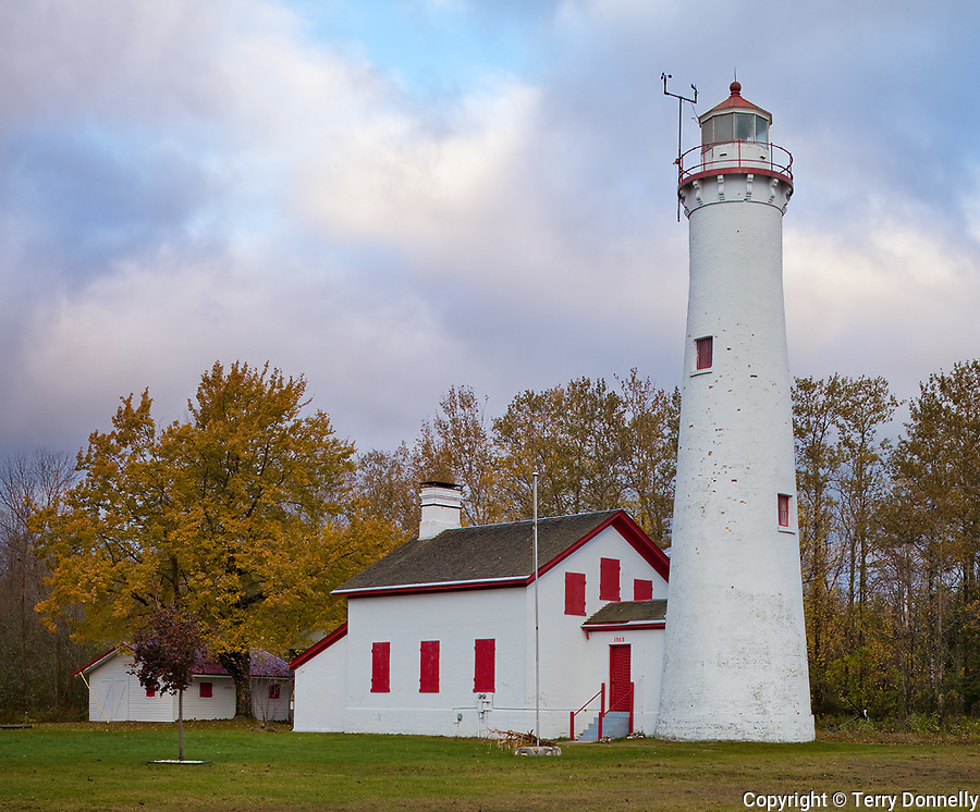 Alcona County, Michigan<br /> Sturgeon Point Light (1869) morning clouds