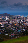 Evening light over Waikiki, Honolulu, Oahu, Hawaii