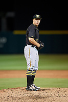 Bradenton Marauders relief pitcher Jordan Jess (37) gets ready to deliver a pitch during the second game of a doubleheader against the Lakeland Flying Tigers on April 11, 2018 at Publix Field at Joker Marchant Stadium in Lakeland, Florida.  Bradenton defeated Lakeland 1-0.  (Mike Janes/Four Seam Images)