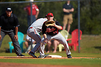 Illinois State Redbirds first baseman Brian Rodemoyer (30) waits for a pickoff attempt throw as Tony Butler (4) gets back to the bag during a game against the Indiana Hoosiers on March 4, 2016 at North Charlotte Regional Park in Port Charlotte, Florida.  Indiana defeated Illinois State 14-1.  (Mike Janes/Four Seam Images)