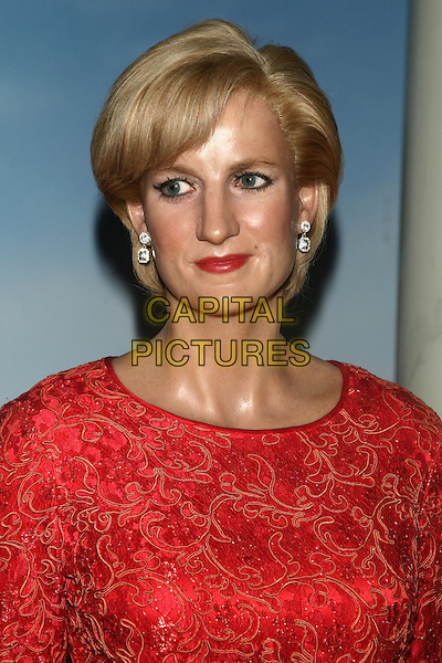 PRINCESS DIANA WAXWORK.Waxwork figure at Madame Tussauds, New York, USA..15th March 2011.headshot portrait red lace wax work.CAP/LNC/TOM.©LNC/Capital Pictures.