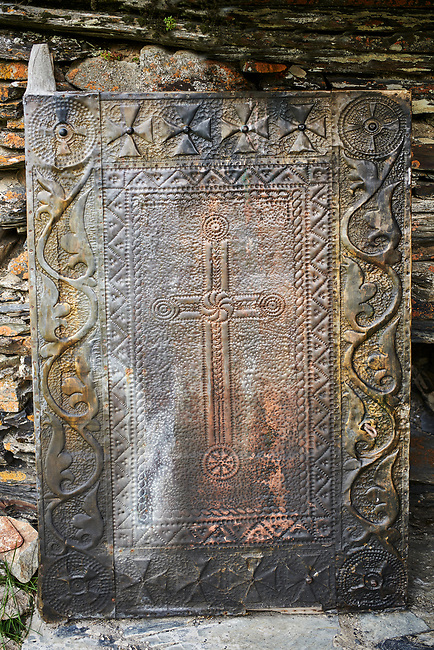 "Medieval door of the Georgian Orthodox St George Church ""JGRag"" , Ushguli, Upper Svaneti, Samegrelo-Zemo Svaneti, Mestia, Georgia. At 2,200 m (7217 ft) above sea level in the Caucasus mountains St George Church is one of  the highest in Europe."