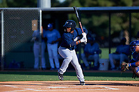 AZL Brewers Blue Jackie Urbaez (8) at bat during an Arizona League game against the AZL Royals at Surprise Stadium on June 18, 2019 in Surprise, Arizona. AZL Royals defeated AZL Brewers Blue 12-7. (Zachary Lucy/Four Seam Images)