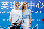 Steffi Graf of Germany (R) , the global ambassador of Zhuhai WTA Elite Trophy 2017, and Anastasia Pavlyuchenkova of Russia (L) pose for photo during the Steffi Graf tennis show at Zhuhai Tower on November 04, 2017 in Zhuhai, China. Photo by Yu Chun Christopher Wong / Power Sport Images
