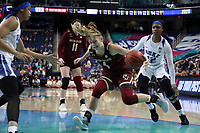 GREENSBORO, NC - MARCH 06: Cameron Swarz #1 of Boston College during a game between Boston College and Duke at Greensboro Coliseum on March 06, 2020 in Greensboro, North Carolina.