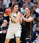 SIOUX FALLS, SD: MARCH 10:  Naomi Rust #42 of Augustana shields the ball from Miranda Ristau #51 of Northern State during the 2018 NCAA Division II Women's Basketball Central Region Tournament at the Elmen Center in Sioux Falls, S.D.    (Photo by Dick Carlson/Inertia)